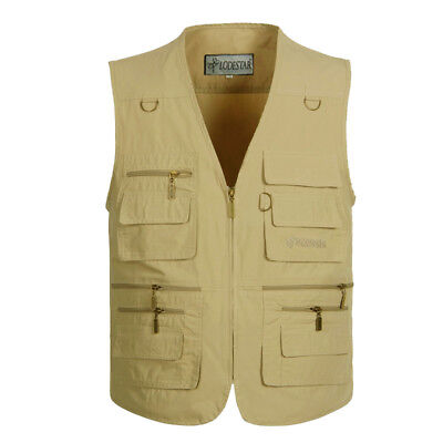 Men Outdoor Multi-pocket Fishing Vest Hiking Photography Canvas Vest Waistcoat