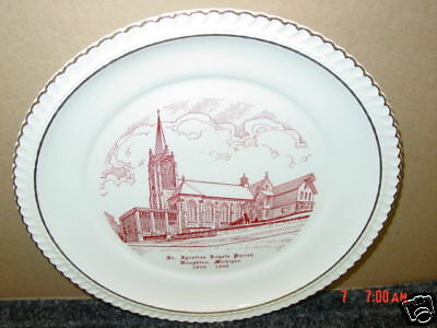 Vintage Plate Wisconson Dells Souvenir Jaws of Dells State Pictorial Transfer