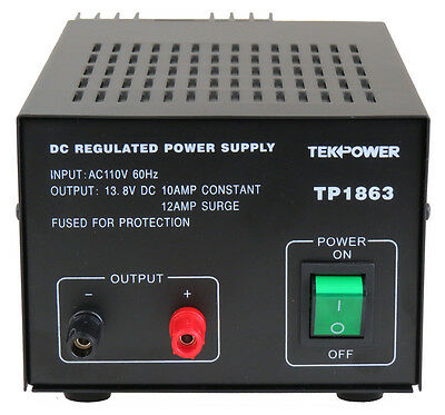TekPower TP1863 12 Amp DC 13.8V Regulated Power Supply with Fuse Protection