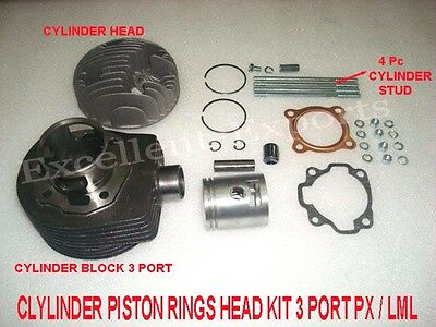 Vespa PX LML Cylinder Piston Ring Kit 3 Port 150 cc With Spares Brand New P2051