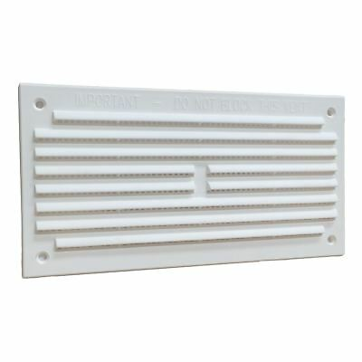 "6"" x 3"" White Plastic Louvre Air Vent Grille with Removable Flyscreen Cover"