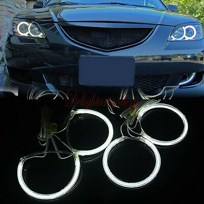 White LED CCFL Angel Eyes Halo Rings Fit For Mazda 3 M3 2004-2008 04-08