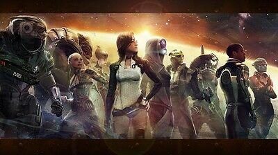 """Mass effect 2 3 4 Game Fabric poster 24"""" x 13"""""""