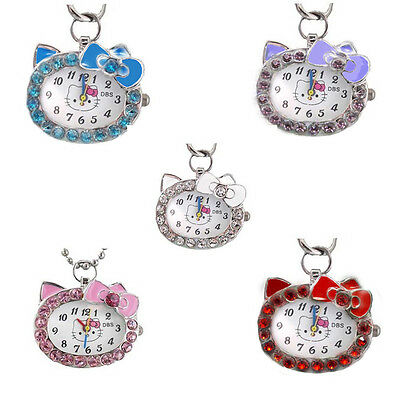 DBS Hello Kitty Cat Crystal Stones Necklace Pocket Womens Girls Watches Quartz