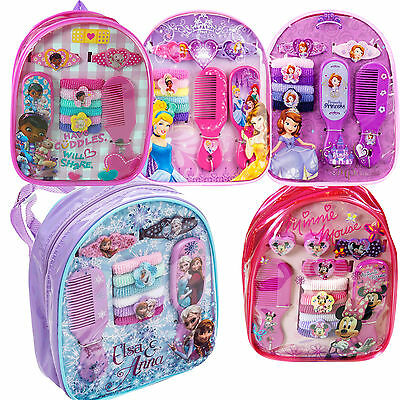 11 Pc Girls Disney Hair Accessories with mini Backpack,Frozen Elsa & Anna ,Gift