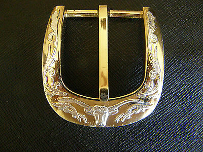 VINTAGE TEXAS LONG HORN THEME BELT BUCKLE GILDED AND SILVERED HEAVY DUTY NICE