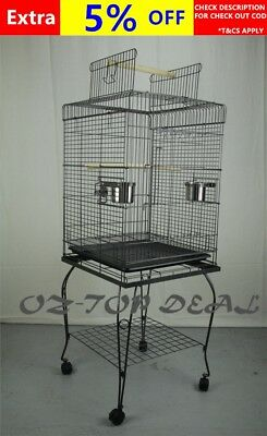 148 Cm New Canary Bird Parrot Cage Aviary Budgie Open Roof With Stand Castor