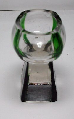 Antique Vintage Green & Clear Glass Candle Stick Holder Denmark ?