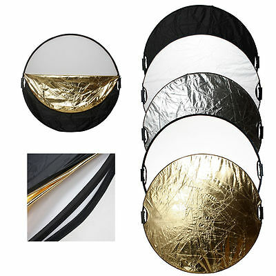 """5 in 1 43"""" 110cm Photography Photo Light Mulit Collapsible Disc Reflector Kit AU"""