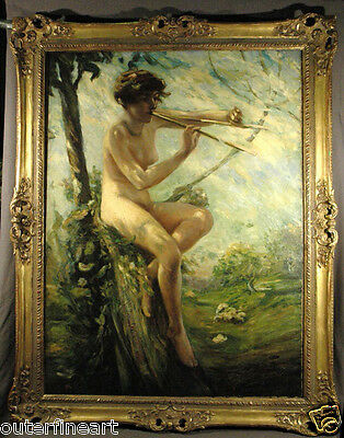 """19th Century Nude Woman """"Pastoral""""  Lillian Genth Oil Painting (AMERICAN)"""