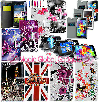 PRINTED LEATHER FLIP WALLET CARD SLOTS CASE WITH MEDIA STAND FOR MOBILE PHONES