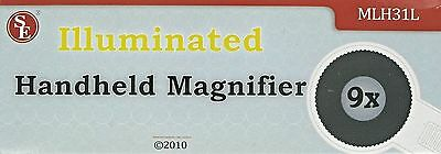 """Lighted 8"""" Handheld Magnifier 1"""" 9x Glass Lens Incandescent Bulb 2C Not Incl 113"""