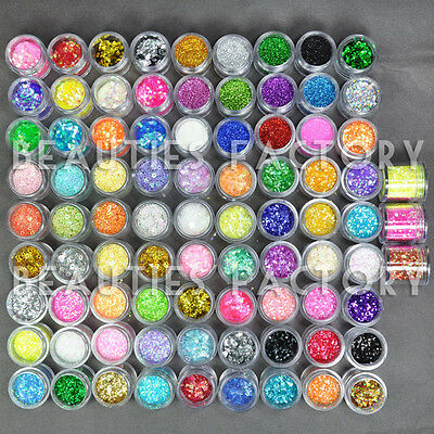 48 Mix Color Set Nail Art Glitter Powder Dust UV GEL Acrylic Decoration TipS 423