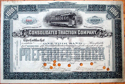 1890 Railroad/Trolley Stock Certificate: Consolidated Traction, Pittsburgh- 1000