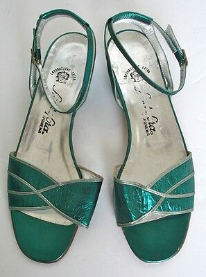 UK 3 - 80s Teal green metallic ankle strap sandals