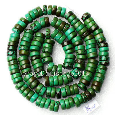 """3x6mm Natural Rondelle Shape Green Turquoise Gemstone Loose Beads Strand 15"""""""