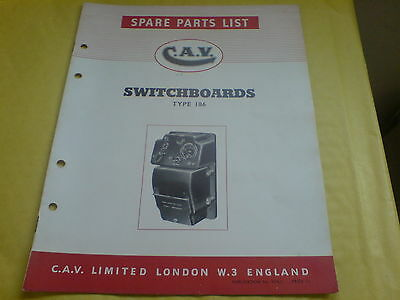Albion Foden Sentinel Cav Type 186 Switchboard Spare Parts List