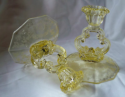 "Cambridge Diane Crystal #3400/646 Krystol Gold Yellow Pair 5"" Tall Candlesticks!"