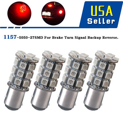 4X 1157 BAY15D RED 27SMD 5050 Chip Backup Reverse High Power LED Light Bulbs