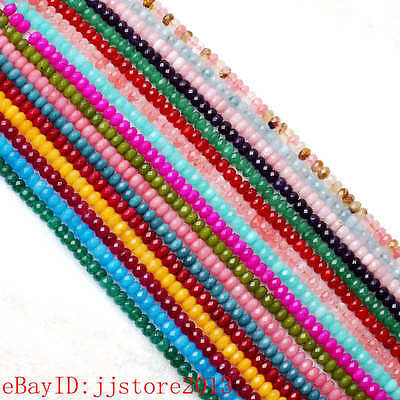 """5x8mm Faceted Rondelle Shape Natural Mixed Jade Gems Loose Beads Strand 15"""""""