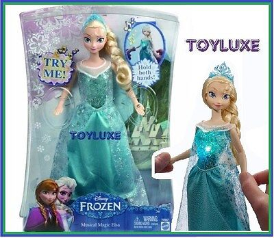 "Disney Frozen ELSA Musical Magic Doll 12"" Lights Up Glow & Plays Music LET IT GO"