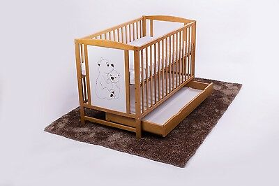 Teddy Bears Baby Cot With Drawer + Mattress Selection Of Mattresses Cot Colours
