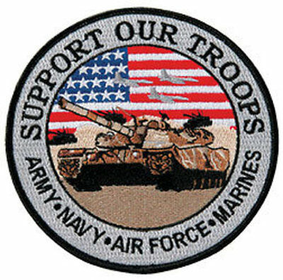 """Support Our Troops, Real American Super Heroes 12"""" Circle sew on high quality EM"""