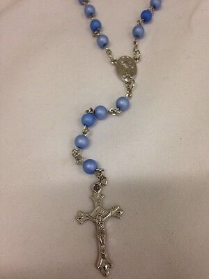 Bulk Lot 12x - Light Blue Plastic Rosary Round Beads Necklace In Gift Box