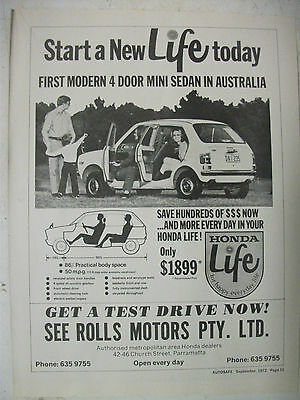1972 Honda Life Australian Magazine Fullpage Advertisement