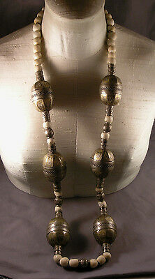 Vintage North African Moroccan Ethnic Necklace w/ Large Ornate Metal Beads