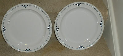 1 Salad Plates Silhouettes Chequers J & G Meakin Blue White Ironstone Crazing