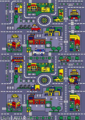 5x7  Area Rug Play Road Driving Time Street Car Kids City Map Fun Time New Gray