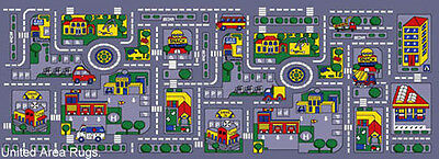 3x7 runner rug play road driving time street car kids city map fun time 2