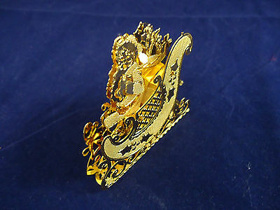 3D Dimensional Gold Plated Santa with Sleigh Ornament