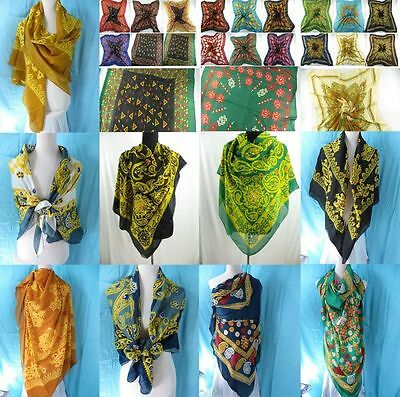 "*US Seller*lot of 10 mixed design retro boho silky satin square scarf 35"" x 35"""