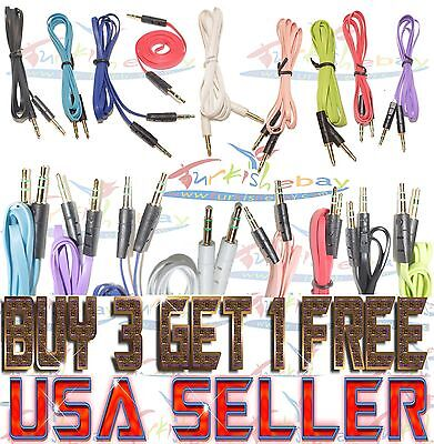 AUX CABLE LOT X 100 IPHONE SAMSUNG Flat Male Audio Jack Cord Car Phone Ipod XMAS