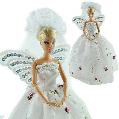Fashion Handmade Wedding Party Dress Clothes Gown With Wings For Barbie Dolls