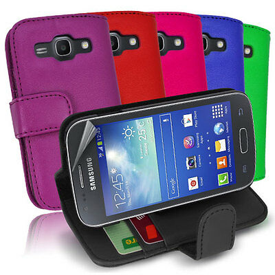 Side ID Wallet Leather Case Cover for Samsung Galaxy ACE 3 + Screen Guard