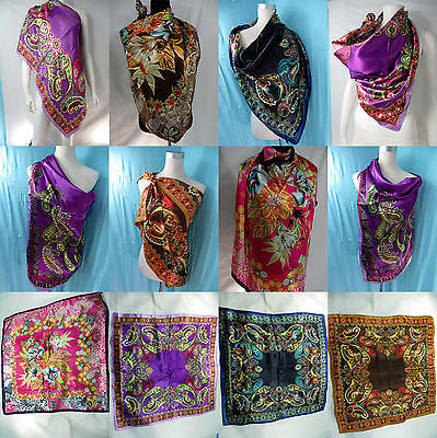 *US Seller*lot of 12 wholesale Victorian floral satin handkerchief square scarf