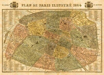 Historic Map of Paris France 1864 Garnier Monument Street wall map art print