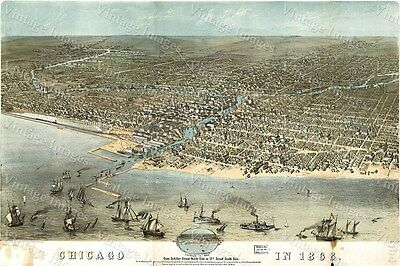 Historic Ruger's 1868 Birdseye view Map of Chicago Illinois Boats waterfront