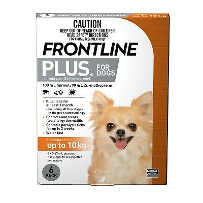Frontline Plus Flea & Tick Protection for Dogs up to 10kg - 6 Pack