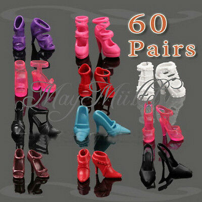 60 Pairs Of Trendy Assorted High Heel Shoes For Barbie Doll Clothe Accessories E