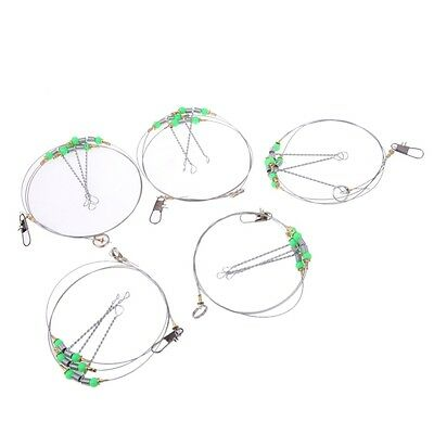 20pcs 60CM 3 Arms Stainless Steel Fishing Rigs Stainless Steel Wire Leader