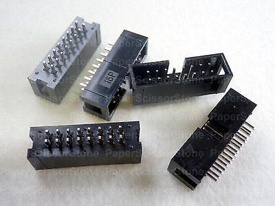 "20Pcs 16 Pin 2x8 2.54mm 0.1"" Pitch Male Shrouded PCB Box Header IDC Socket Notch"