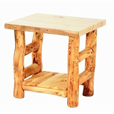 Rustic Log End Table Country Western Cabin Wood Living