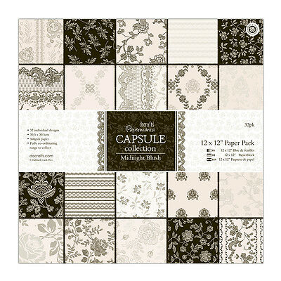 """Papermania 12 x 12"""" scrapbooking capsule collection 32 sheets Midnight blush"""