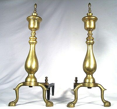 Antique Brass Claw Feet Rooster Spur Fire Place Original Patina Andirons Dogs