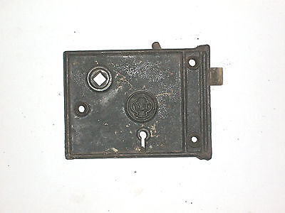 Antique Yale and Towne Rim Lock 4 1/4 x 3 1/8 W/ strikes fully functional