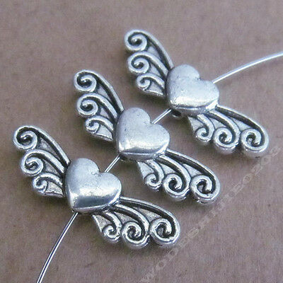 20pc Charm Love Heart Angel wings Spacer Beads Accessories Tibetan Silver SA230